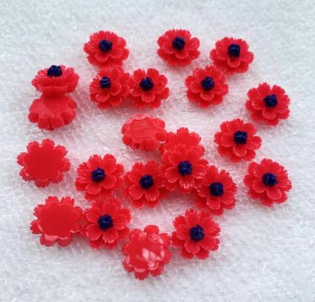 Фото Серединки ,кабашоны, Кабашоны, камеи Цветок 13 мм. Пластиковый , акриловый ,  Красного  цвета.