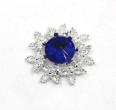 Фото Новинки Серединка  23 мм.  Металическая  основа  под  белое  серебро  с  Синим  камешком .