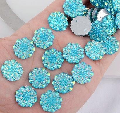 Фото Серединки ,кабашоны, Кабашоны, камеи Акриловая , пластик- кристал  серединка  18 мм.   Голубая  , хамелион .