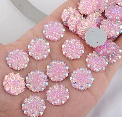 Фото Серединки ,кабашоны, Кабашоны, камеи Акриловая , пластик- кристал  серединка  18 мм.   Розовая  , хамелион .