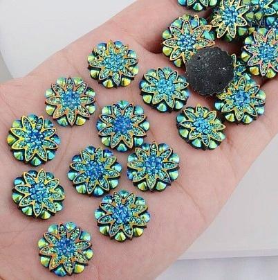 Фото Серединки ,кабашоны, Кабашоны, камеи Акриловая , пластик- кристал  серединка  18 мм.   Синяя  , хамелион .