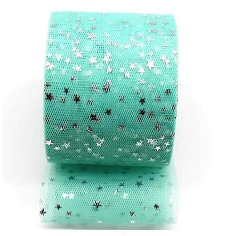 Фото Фатин ,регилин ,лазерная лента Фатин ширина 6 см.  Мятного  цвета с Серебряными блестящими звёздочками .