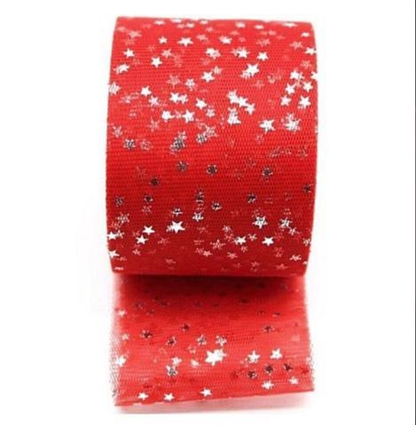 Фото Фатин ,регилин ,лазерная лента Фатин ширина 6 см.  Красного цвета с Серебряными блестящими звёздочками .